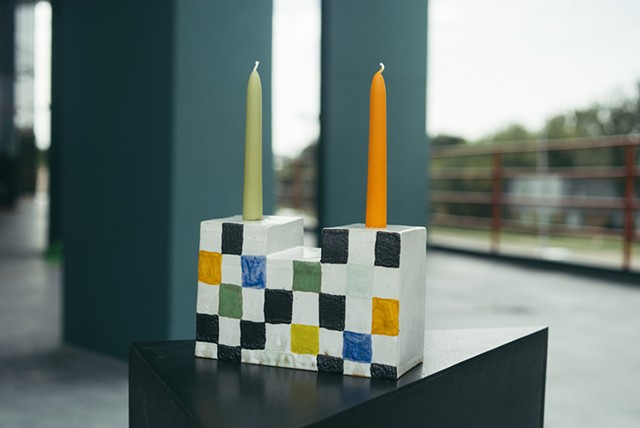 Candlestick Holder with Grid