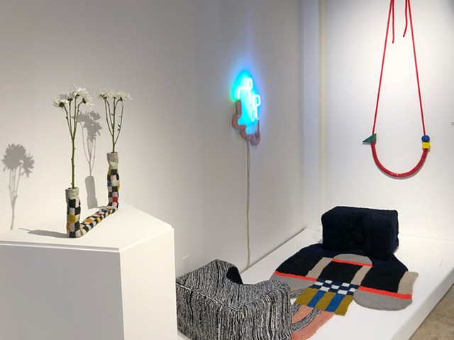 Installation View with Daisy Holder with Grid Vase (L) and After Sottsass Hanging Sculpture (R)