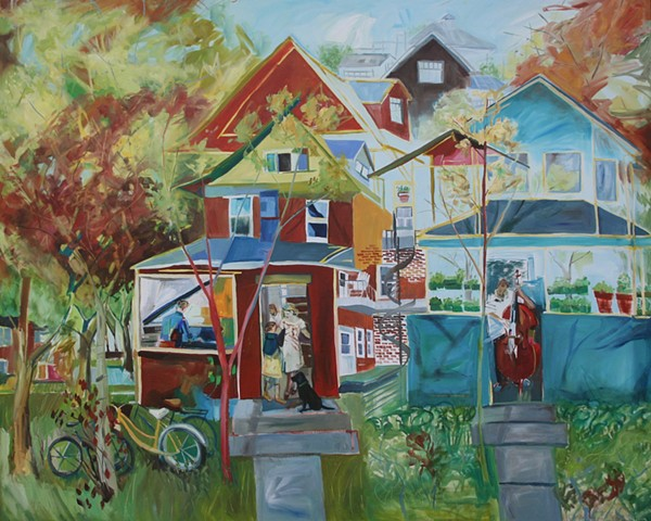 Piano Player and Bass player in neighbouring houses - Jill Thomson - Oil on Canvas