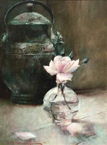 Rose with Copper Pot