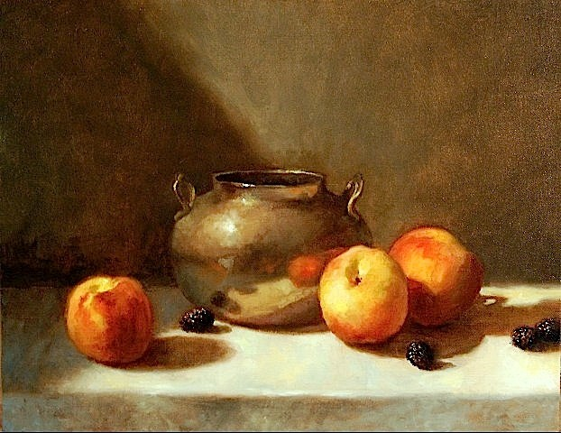 Silver Pot with Peaches