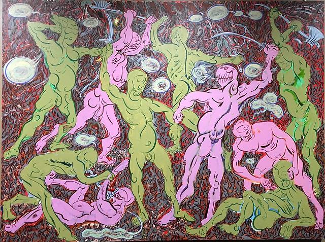 Cartoon, acrylic painting, Pollaiuolo
