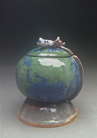 Globe lidded jar