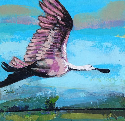 Roseate Spoonbill  with glazed landscape