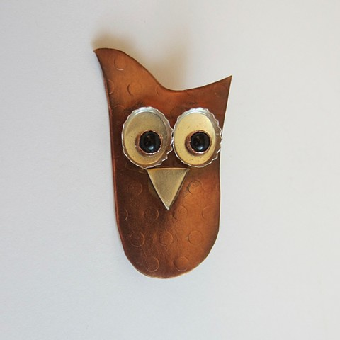 Owl with Black Eyes pin