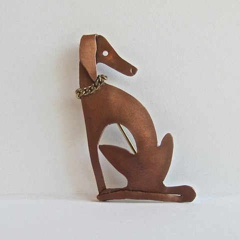 Sitting Greyhound pin