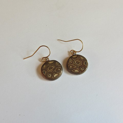 bronze and copper metal clay earrings