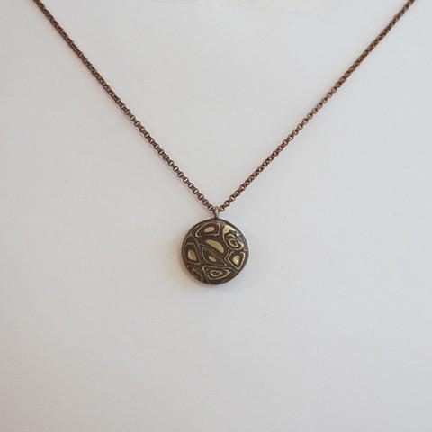 Mokume Gane small round necklace