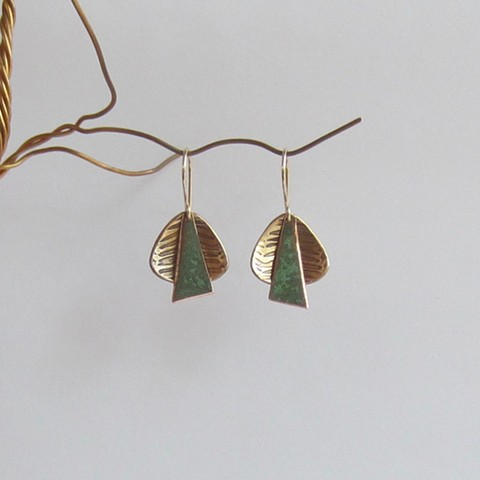 Golden Triangles with Green Ties earrings