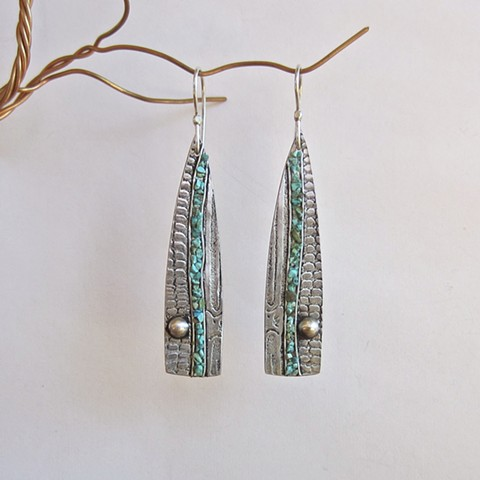 PMC earrings with stone inlay