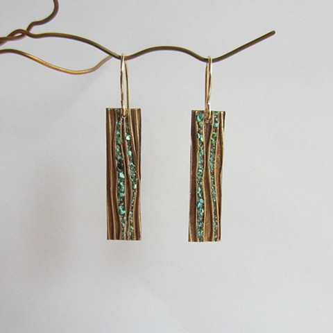 Rectangles with Turquoise Inlay earrings