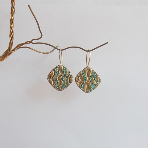 Squares with Turquoise Inlay earrings