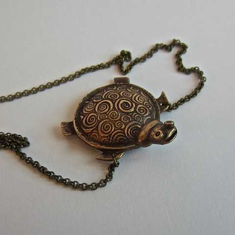 Bronze Turtle whistle necklace