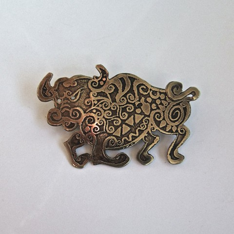 Etched Bull pin