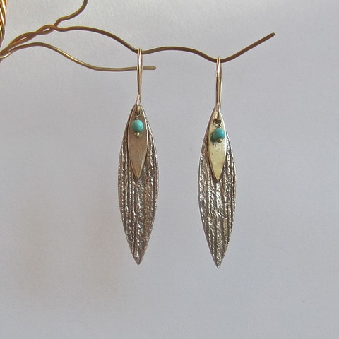 Golden Petals with Turquoise earrings