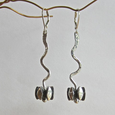 silver earrings, inspired by nature