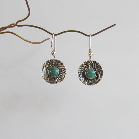 Round Silver earrings with Turquoise