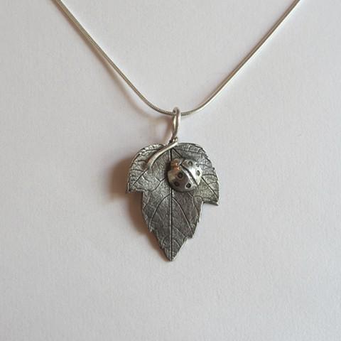 Leaf with Ladybug necklace