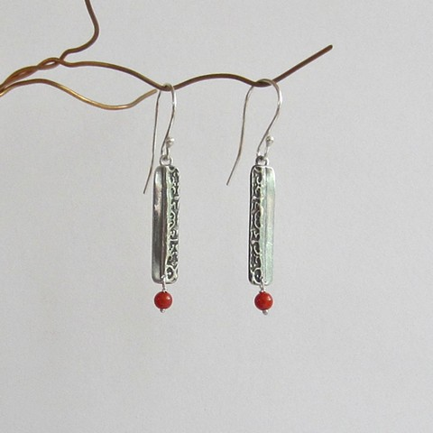 Silver Thin Rectangles with Coral Beads