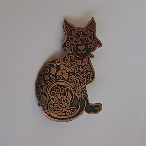 Etched Cat pin