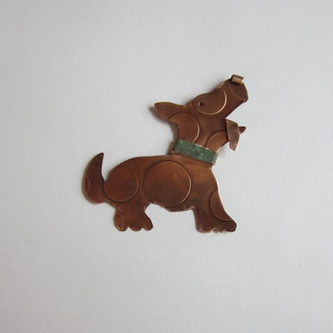 Spotted Dog with a Green Collar pin