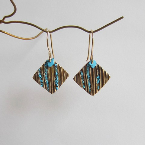 Small Squares with Turquoise Inlay earrings