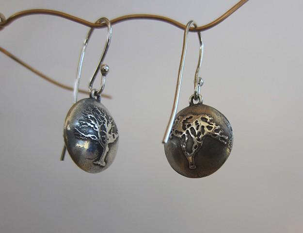 Bonsai earrings (two-sided image)