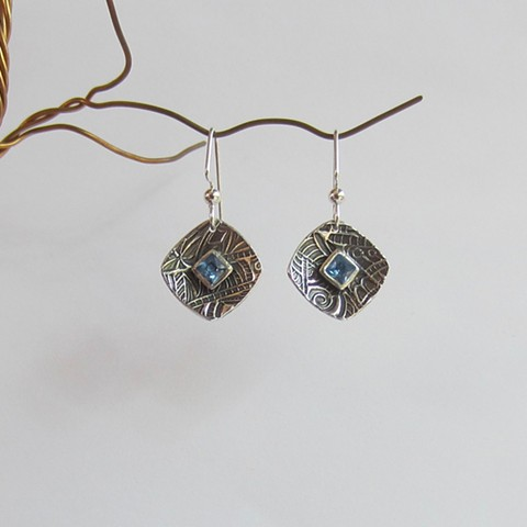 Square Silver earrings with Topaz CZ
