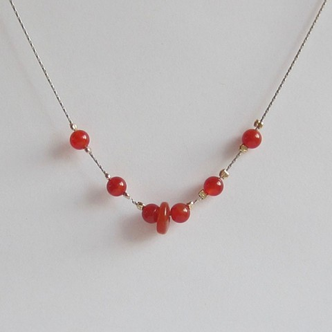 Carnelian and Silver Chain necklace