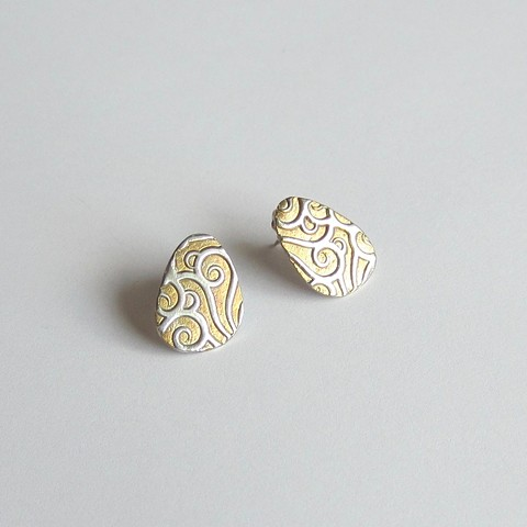 Gold Plated Silver post earrings