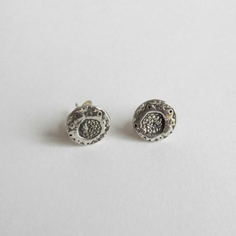 Silver Urchin Flower post earrings