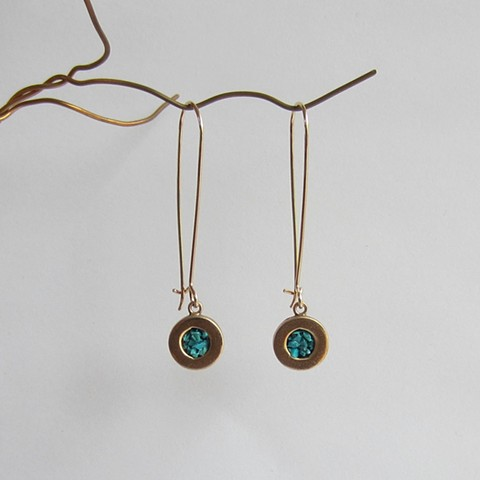 Long Circles with Turquoise Inlay earrings