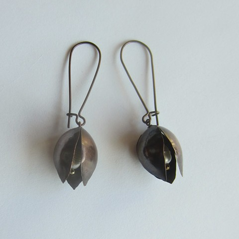 Copper Pod with Pearl earrings