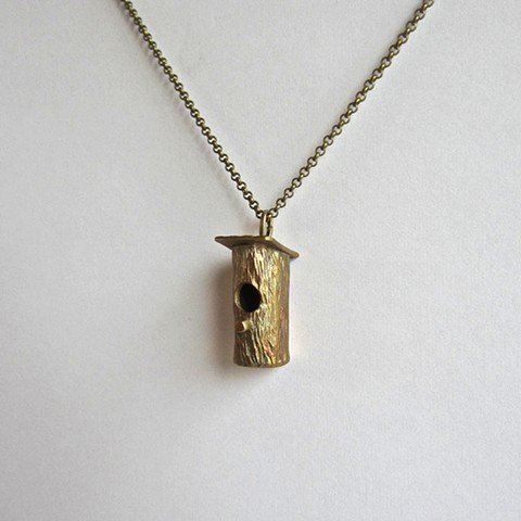 Birdhouse necklace