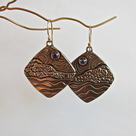bronze metal clay earrings, inspired by nature