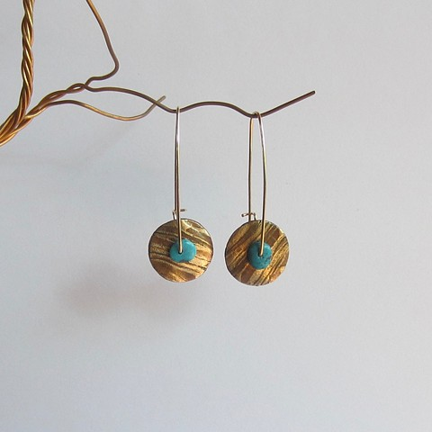 Large Mixed Metal Circle and Turquoise Spinner earrings