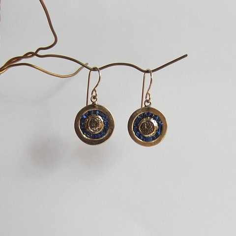 Urchin earrings with Lapis Inlay