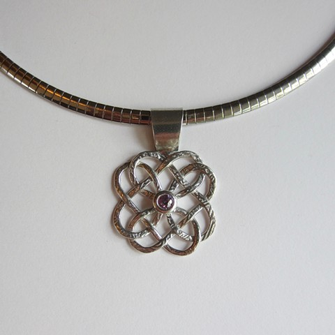 Celtic Knot with Amethyst CZ necklace