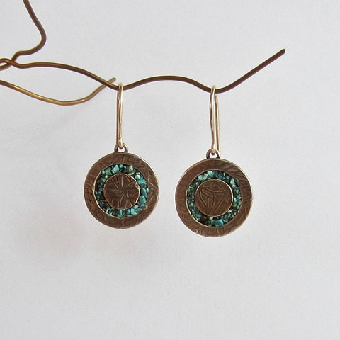 Golden Circles with Turquoise Inlay earrings