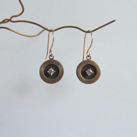 Gold & Black earrings with CZ