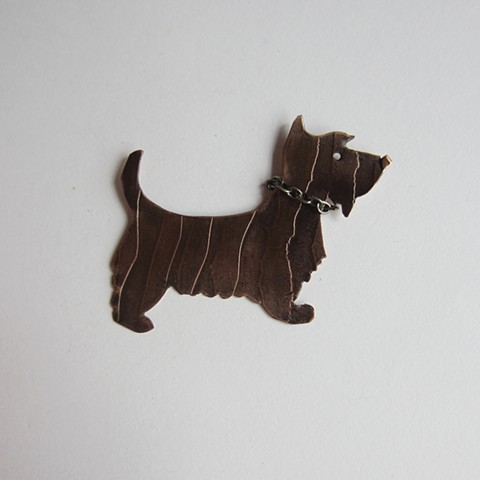 Stripped Dog with a Chain Collar pin