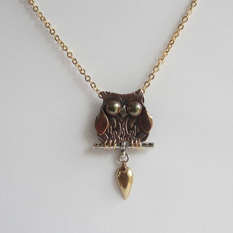 Mixed Metal Owl necklace