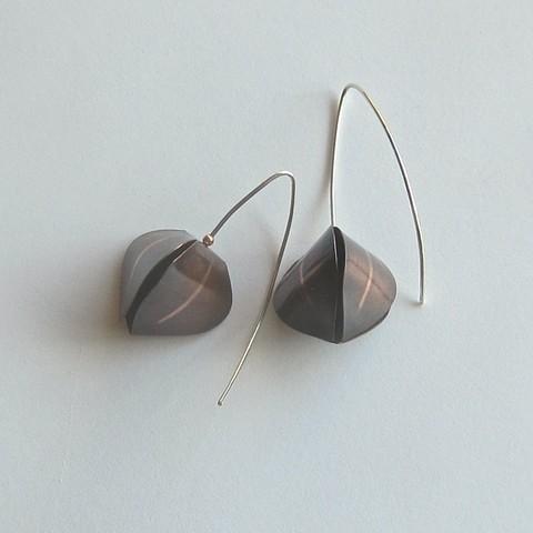 Copper Pod with Stripe earrings
