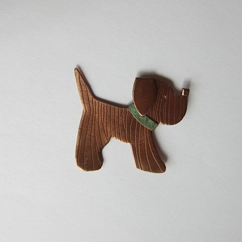 Puppy with Green Collar pin