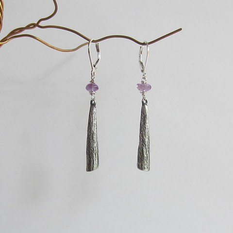 Silver Cones with Amethyst earrings
