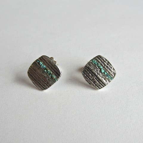 Large Turquoise Inlay stud earrings