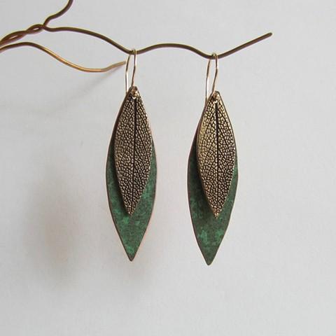 Sage Texture Leaves earrings