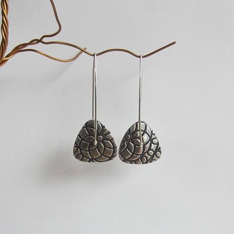 Silver Triangle Spinner earrings