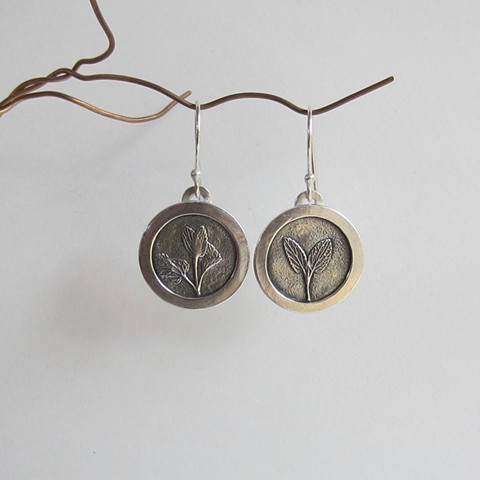 Silver Sage round earrings