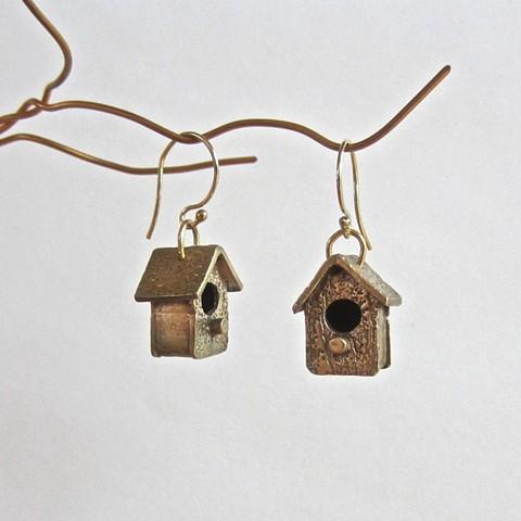 Birdhouse earrings
